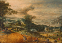 Peasants Harvesting in a Landscape