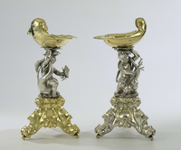 Two silver salt cellars